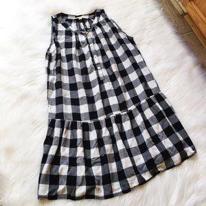 Ann Taylor Checker Plaid Drop Waist Dress Petite